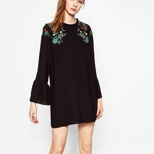 3effe382 Zara Dresses | Embroidered Dress With Frill Cuffs Sold Out | Poshmark